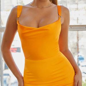 Three quarter mini in coral peach satin bodycon summer dress stores cheap